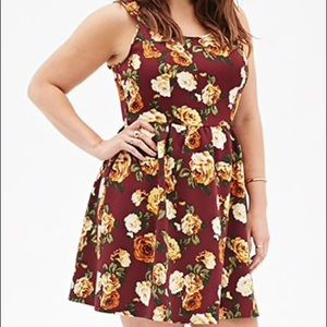 Rose Print Fit & Flare dress Forever 21